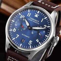 Piloto de reserva energia automática relógio mecânico masculino militar 42mm marca luxo seagull st2532 aço inoxidável couro azul
