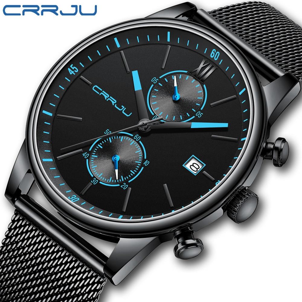 2021 ساعات رجالي CRRJU الماركة الاعلى من الفولاذ المقاوم للصدأ مقاوم للماء ساعات رجالية ساعة عسكرية غوص كوارتز ساعة اليد كرونوغراف