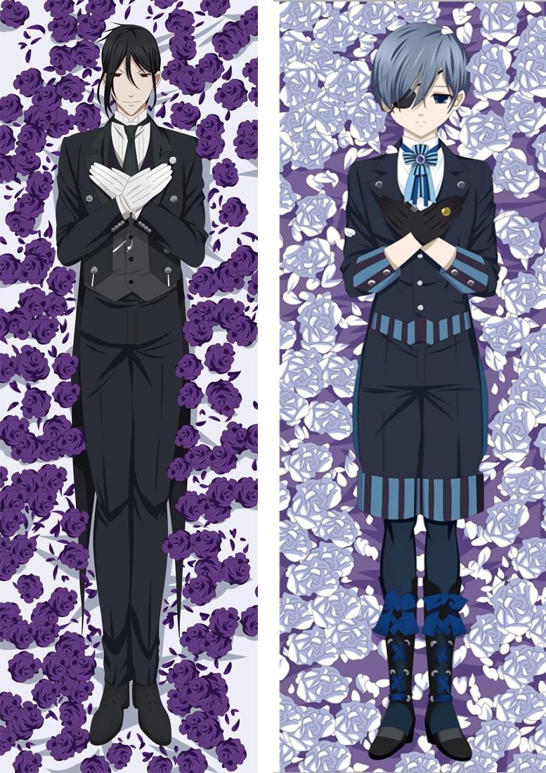 2019-Abril Anime negro Butler Ciel Sebastian Kuroshitsuji Dakimakura funda de almohada para el cuerpo