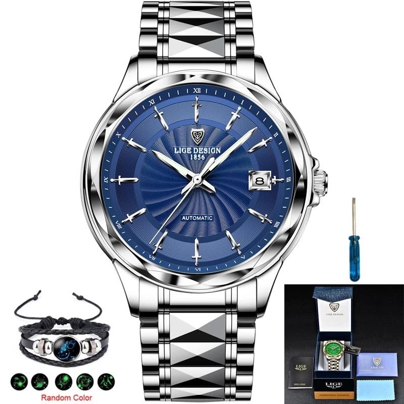 Relogio Masculino LIGE New Clock Mens Watches Luxury Brand Automatic Mechanical Tungsten Steel Strap 50M Waterproof Sports Watch enlarge