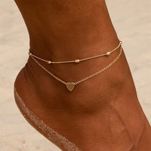New Fashion Simple Heart Female Anklets Foot Jewelry Leg New Anklets On Foot Ankle Bracelets For Wom