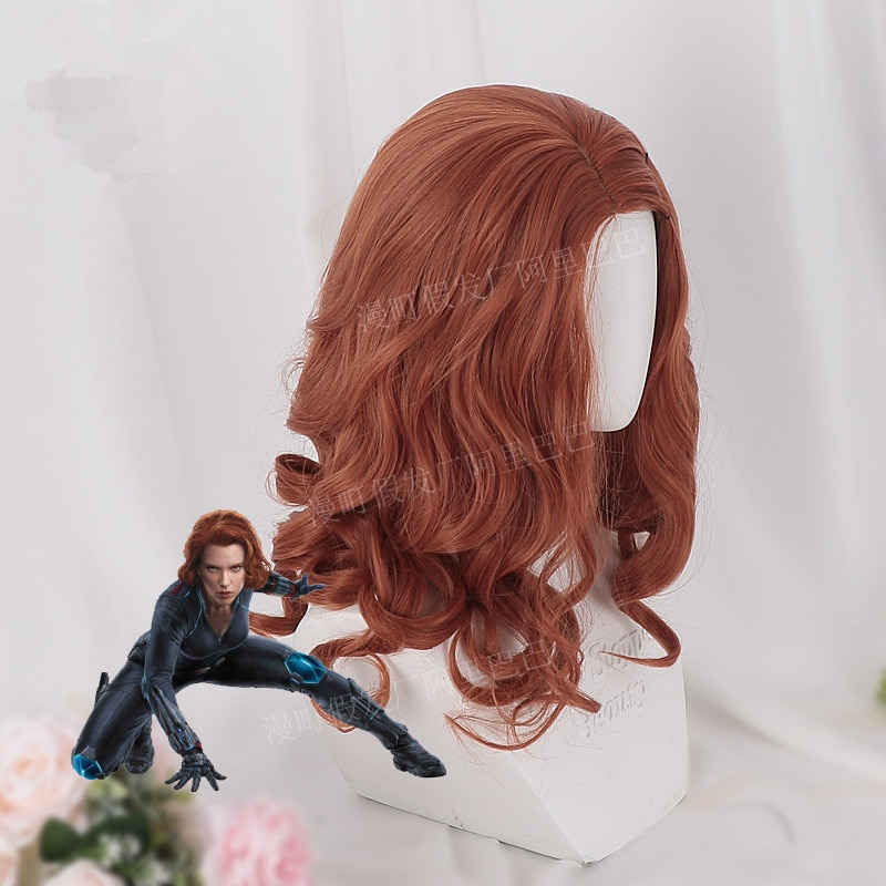 Halloween women Black Widow wig Scarlett Johansson orange wavy hair wig role play syled synthetic hair with hair cap