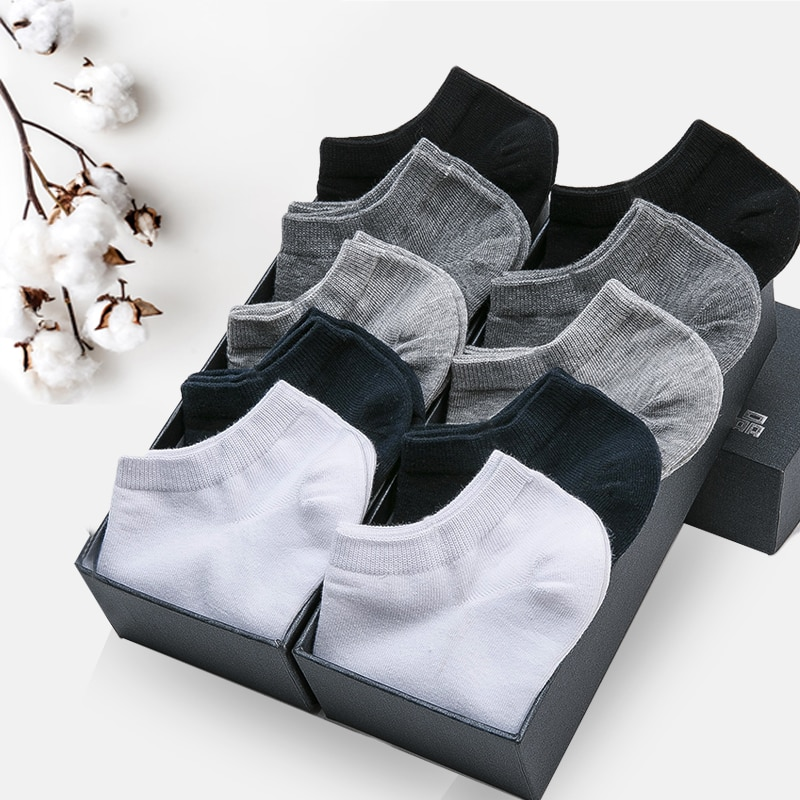 10 Pairs Summer Breathable Thin Short Socks 100% Cotton Deodorant Men's High Quality Sports No Show Black Ankle Socks For Man