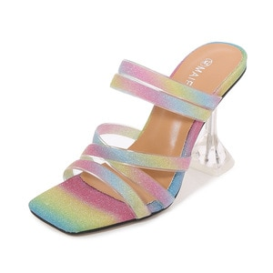 Women Summer Sexy  Wear Slippers  Women Slippers Square Head Candy Color Horizontal Slippers