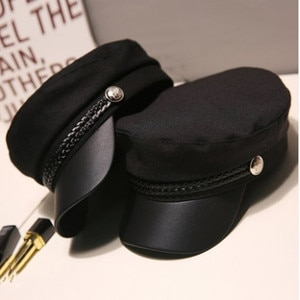 Hat Winter Women's Beret Hat Solid Color PU Leather Brim Military Hat Spring Fall Womens Hat  Beret Women Women's Hats Winter