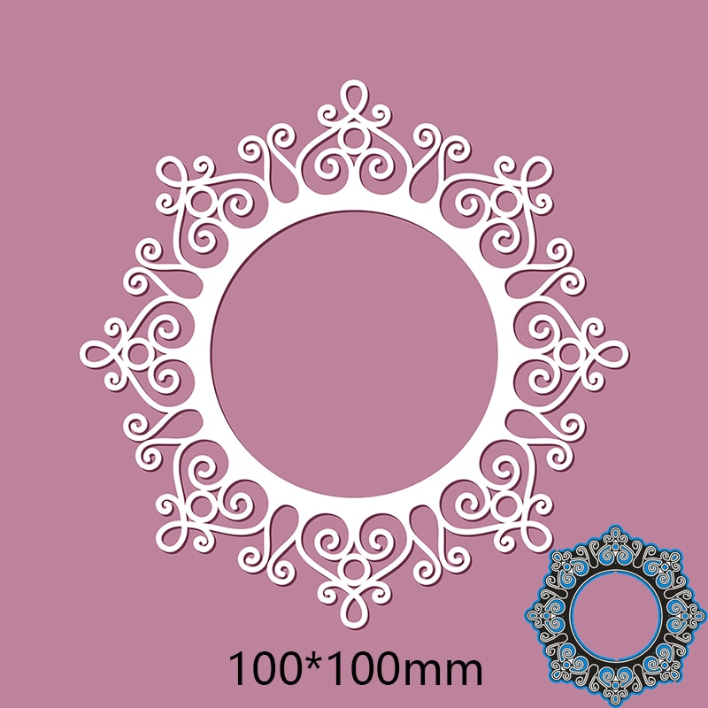 Metal steel Cutting Dies New circle hollow frame Exquisite  DIY Scrapbooking Photo Album Embossing paper Cards 100*100mm