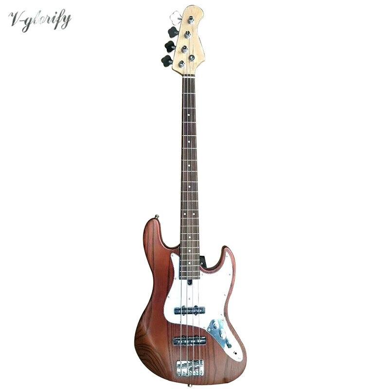 Sólido corpo ashwood 4 cordas guitarra baixa elétrica boa qualidade 21 traste 43 polegada fosco baixo