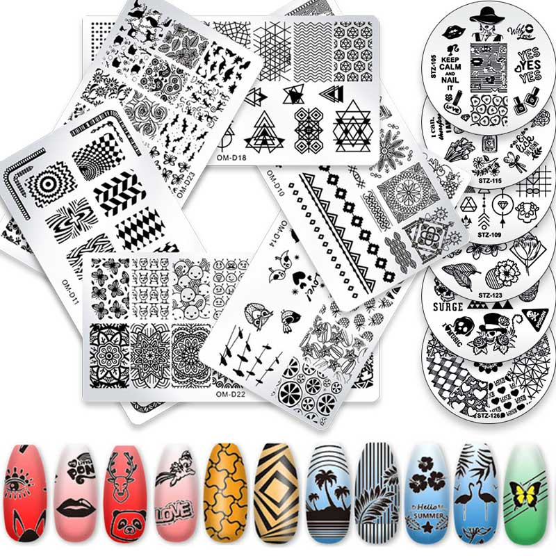 YSKL Nail Art Templates Stamping Plates Plate Marble Image Stamp Lace Flower Animal Geometric Printing Stencil Tools недорого