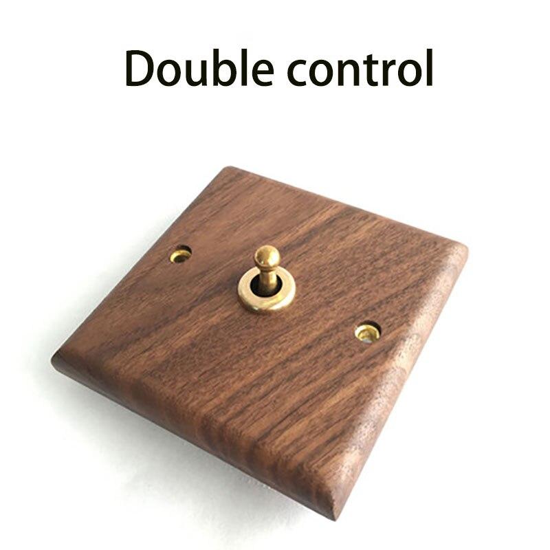 1 Uds., panel de nogal negro americano, palanca de latón, interruptor retro de madera sólida antigua, interruptor tipo 86