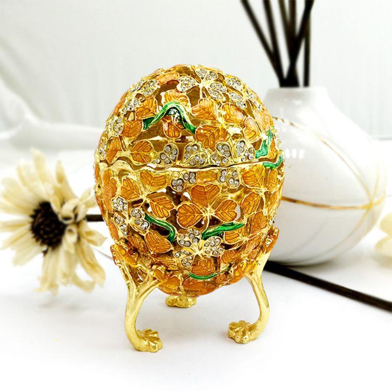 Faberge dorado-caja de joyería pintada a mano con forma de huevo, regalo para decoración del hogar de Pascua