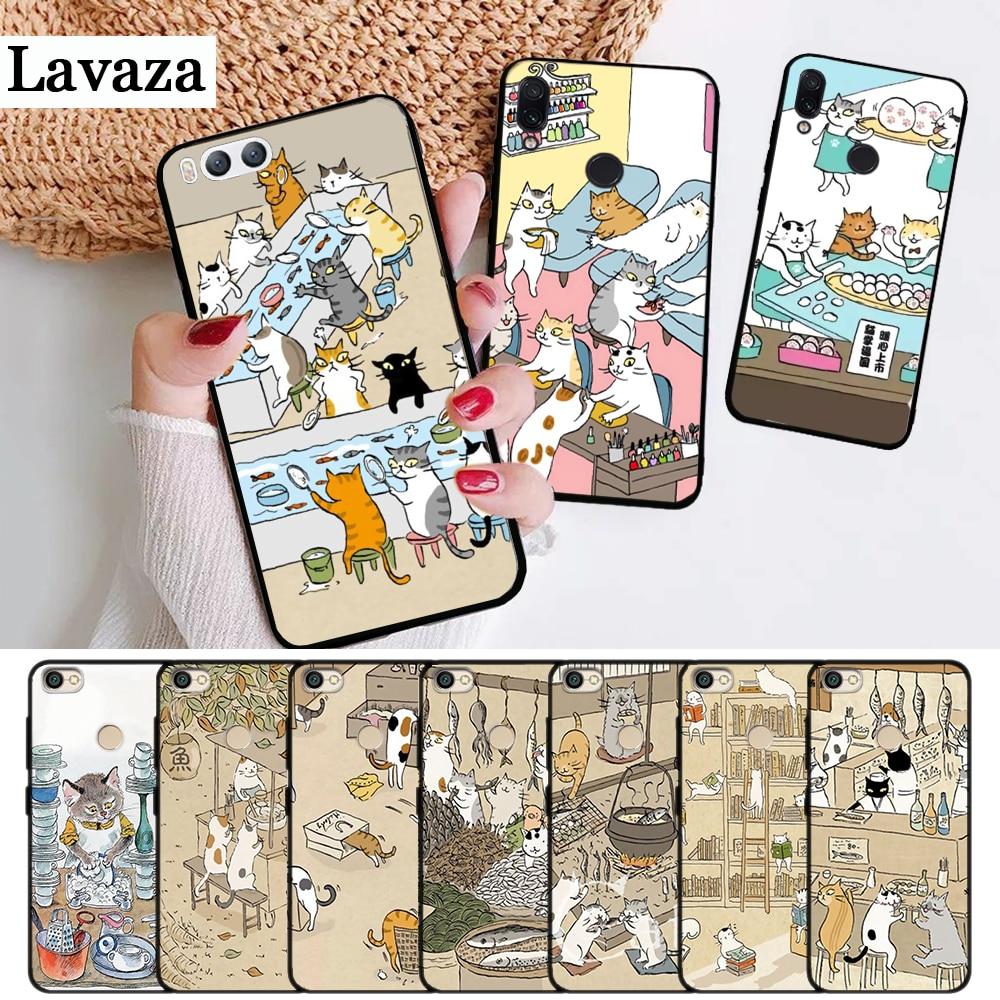 Lavaza Japanese Cat Drink Pattern Skin Silicone Case for Xiaomi Redmi Note 4X 5 5A Prime 6 7 8 Pro 8T