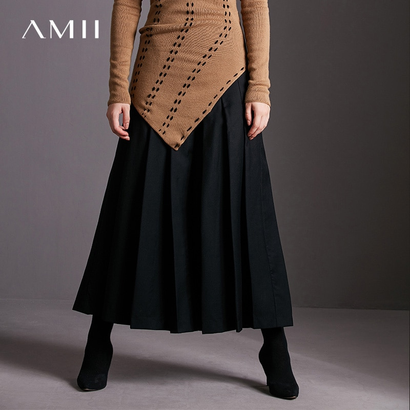 Amii minimalismo primavera mujeres avanzada de lana plisada becerro-longitud falda Causal 11717227