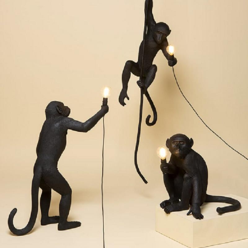 Lampara colgante de mono blanco y negro de resina para sala de estar... lamparas de habitación Salón de Arte sala de estudio