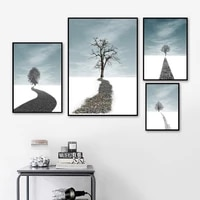 modern minimalist winter snow scene tree wall art canvas painting nordic posters and prints wall pictures for living room decor