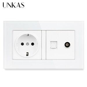 UNKAS Tempered Crystal Glass Panel 16A EU Standard Power Socket + RJ11 Telephone Jack TV Televtion Port 146MM*86MM Outlet