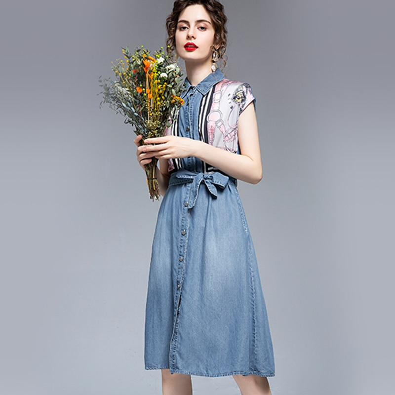 New Denim Dress Women Spring Summer 2021 Fashion Elegant Patchwork Short Sleeve Empire Waist Print Slim A-Line