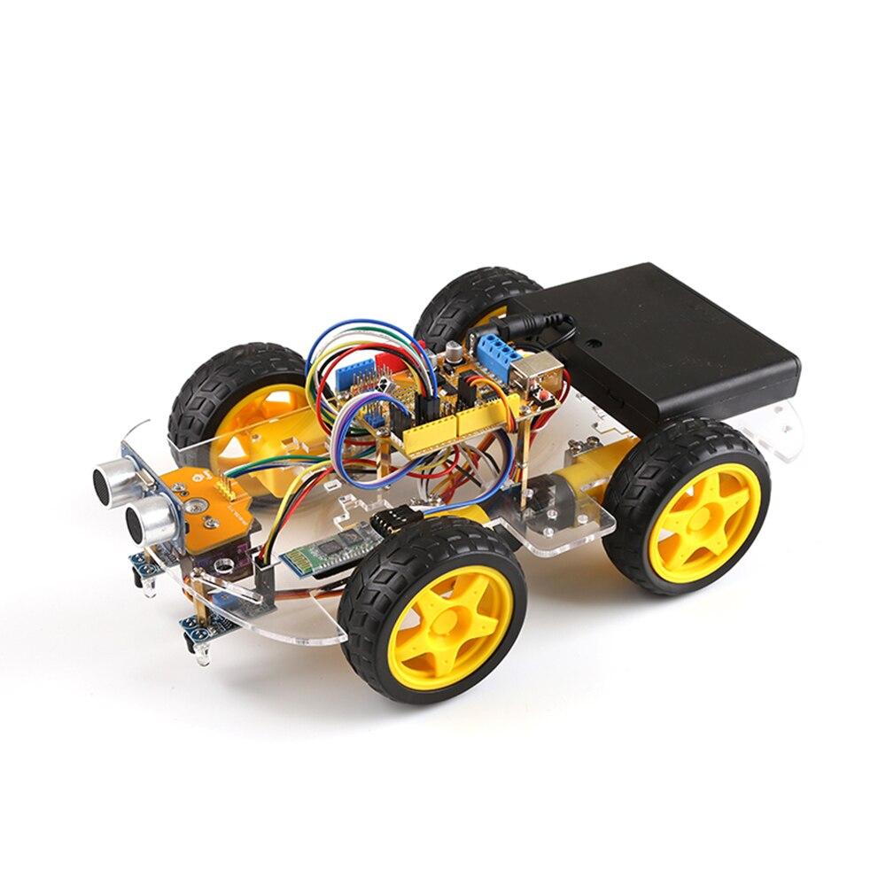 لعبة سيارة روبوت 4WD ، Arduino UNO R3 ، مشروع جذع ذكي ، ألعاب أطفال ، افعلها بنفسك ، مسار تجنب العقبات بالموجات فوق الصوتية ، جهاز تحكم عن بعد