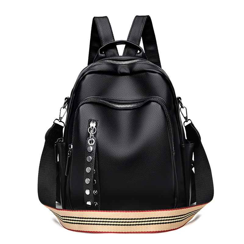 Luxury Soft Leather Backpacks for Women Multifunction Travel Backpack Casual Shoulder Book Bags Female Black Backpack for School