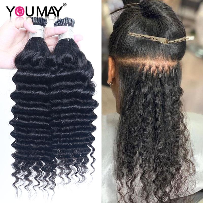 Deep Wave I Tip Hair Extensions Microlinks For Black Women Malaysia Virgin Hair 100% Human Hair Bulk