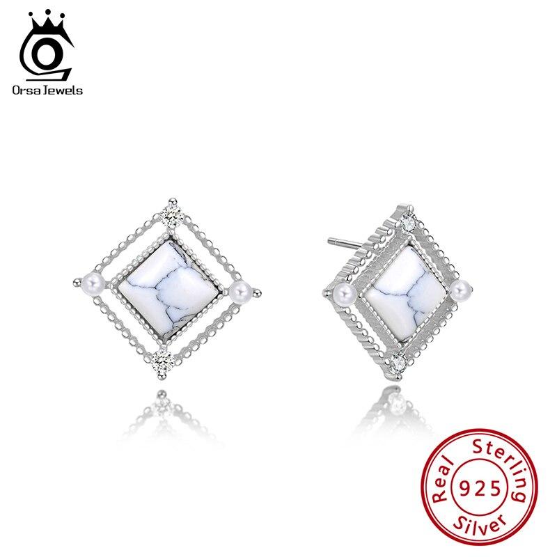 ORSA JEWELS último S925 plata de ley pendientes de mármol claro perla AAAA CZ Material Natural joyería diaria femenina SE177