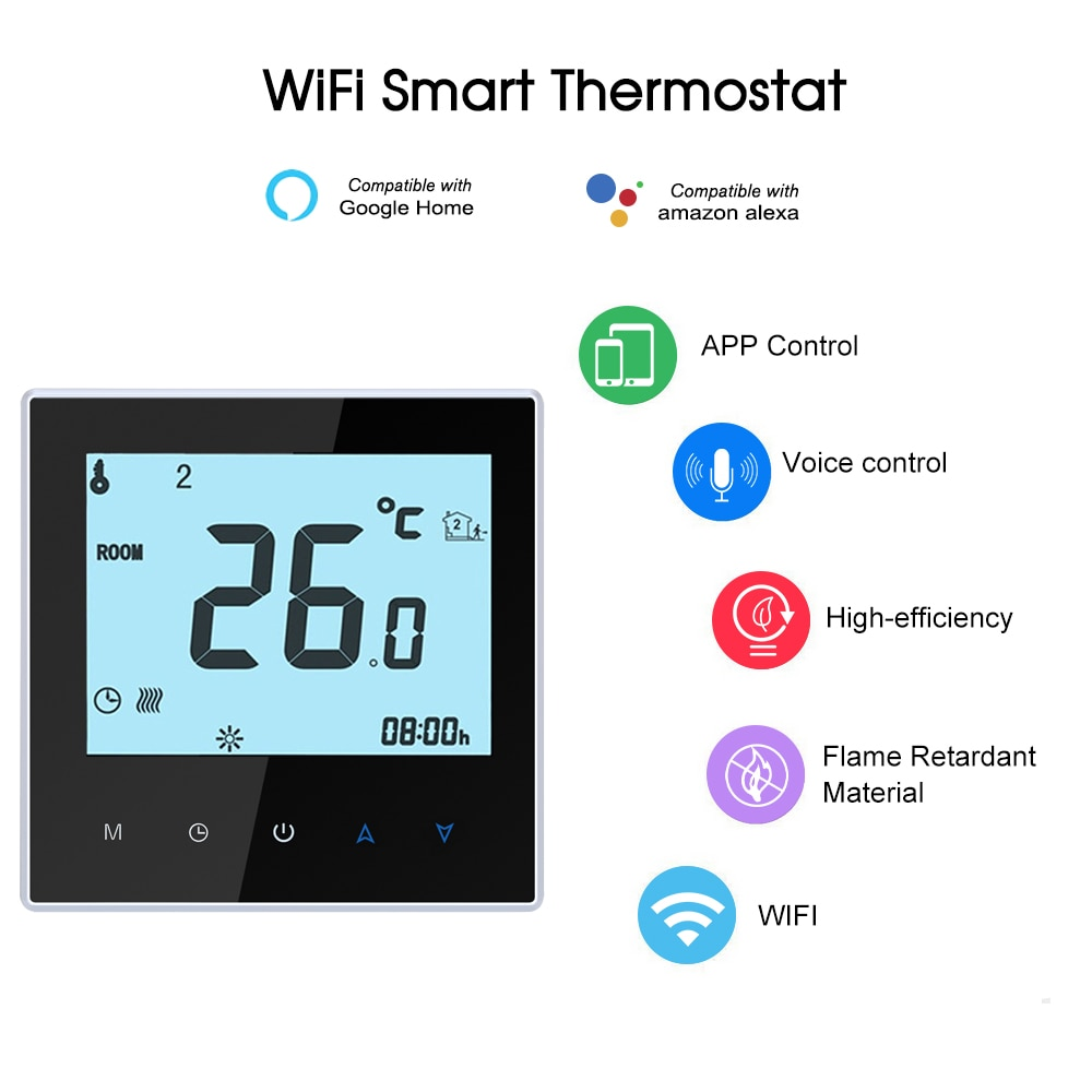 واي فاي ترموستات الرقمية للبرمجة متحكم في درجة الحرارة ترموستات التحكم الصوتي لصدى/جوجل الرئيسية/Tmall الجني/IFTTT