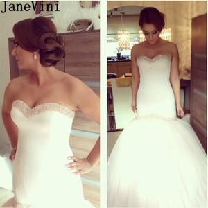 JaneVini Gothic Luxury Beading Wedding Dresses Mermaid 2021 Sweetheart Satin Tulle Lace Up Back Bridal Wedding Gowns for Bride