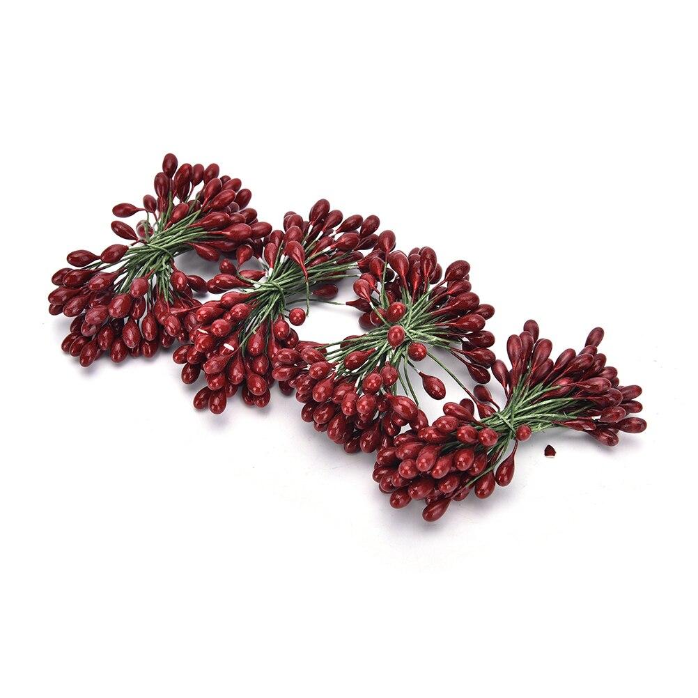 100 cabeza Mini frutas falsas bayas de cristal Artificial Rojo granada cereza ramo estampadora Navidad decorativo doble cabeza