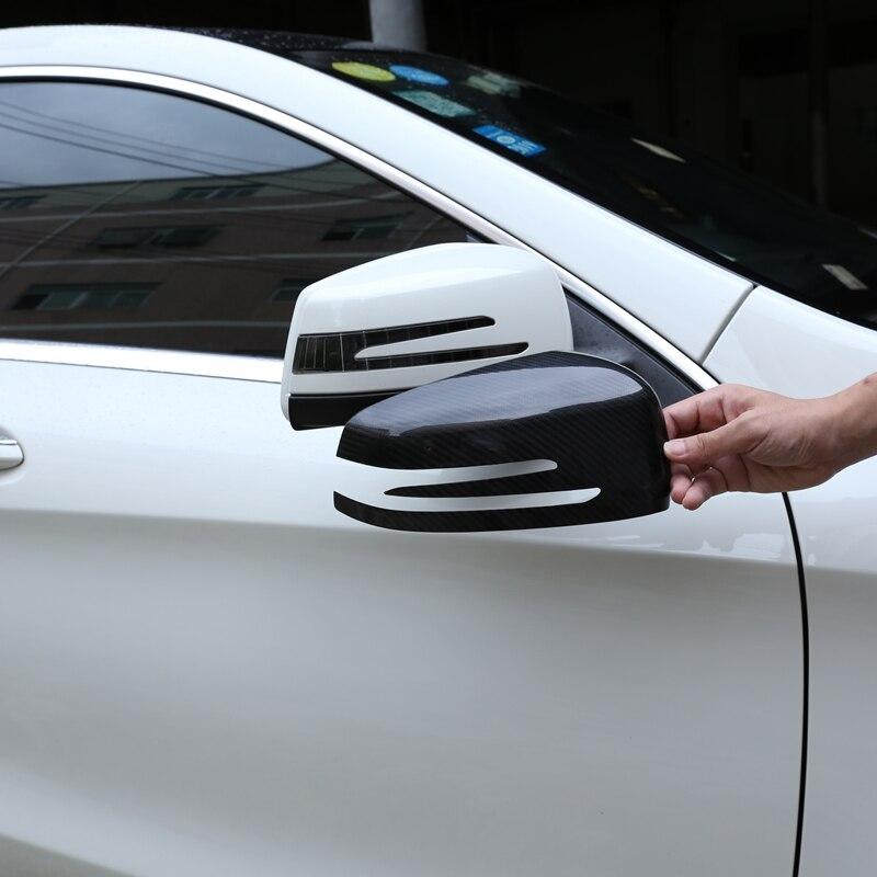 Car Rear view Mirror Decorative Stickers For Mercedes Benz Class A B C E S GLA CLA GLK CLS GLC Car Automotive Carbon Fiber Trim