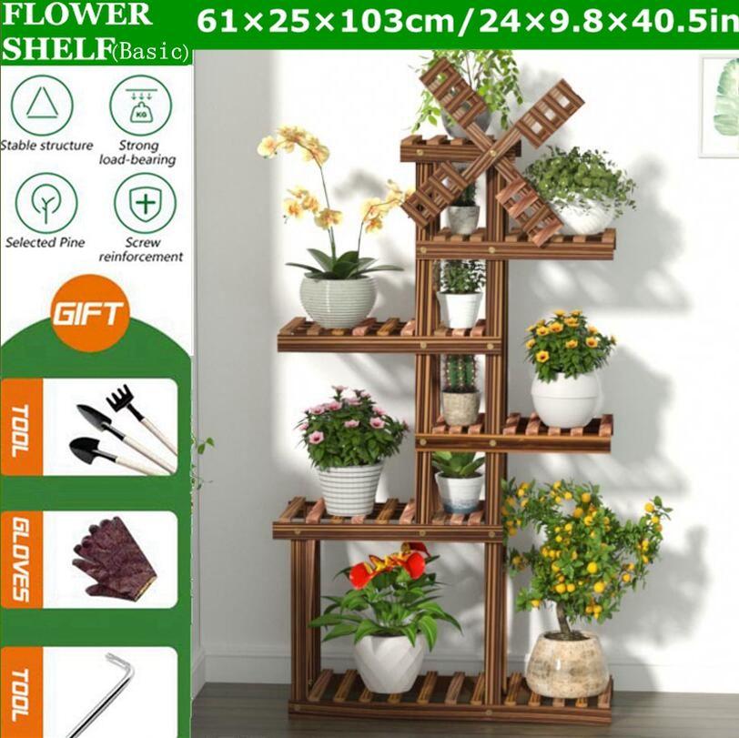 6-Tier Wood Shelf Flower Pot Plant Stand Home Storage Display Shelf 61x25x103cm for Indoor Outdoor Yard Garden Patio Balcony