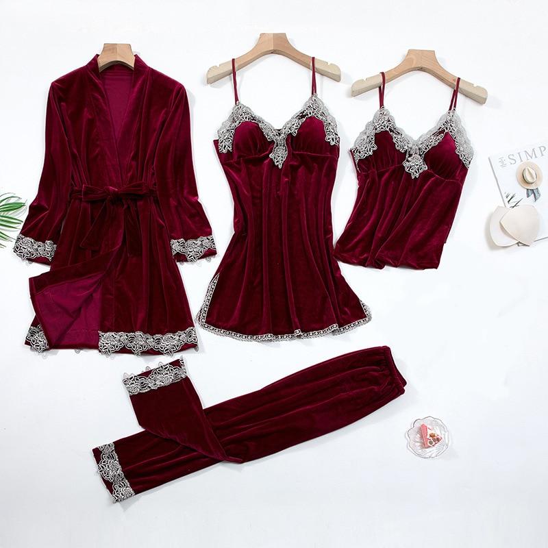 2021 Gold Velvet 4 Pieces and 5 Pieces Warm Winter Pajamas Sets Women Sexy Lace Robe Pajamas Sleepwear Kit Sleeveless Nightwear