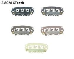 20 pçs 6 dentes snap-pente peruca clipes com borracha para extensão do cabelo 2.8cm grampos de pressão de cabelo tecer grampos de peruca ferramentas de estilo lzh0103