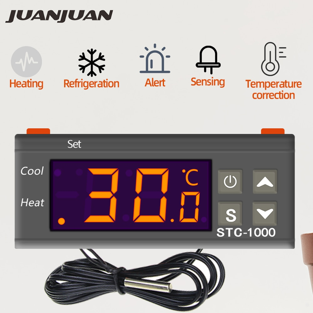 10 قطعة STC-1000 درجة الحرارة ترموستات تحكم 12V 24V 220V ترموستات و سخان برودة التحكم حاضنة 40% قبالة