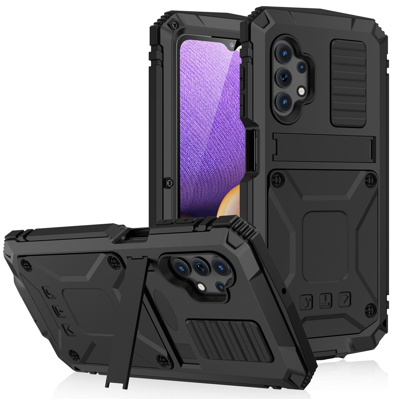 معدن مع المدمج في حامي الشاشة لسامسونج غالاكسي A52 A72 A32 S21 Fe 5G غطاء الهاتف Funda Coques للصدمات مسنده