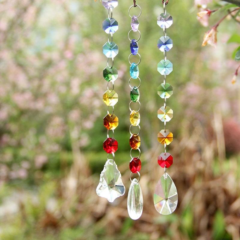 3pcs Multi Chandelier Cut Crystals Window Suncatcher Ornaments Rainbow Glass Prisms Beads Chakra Sun Catcher Collection Ornament