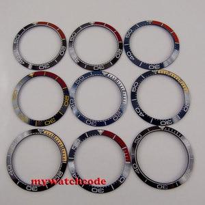 38mm black/blue watch bezel fit 40mm automatic movement men's watch