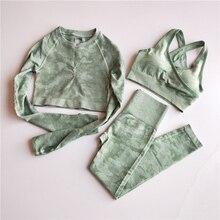Camo Seamless Yoga Set Sports Wear Women Fitness Clothing Gym Leggings+Sport Bra+Long Sleeve Crop Top Sports Suits