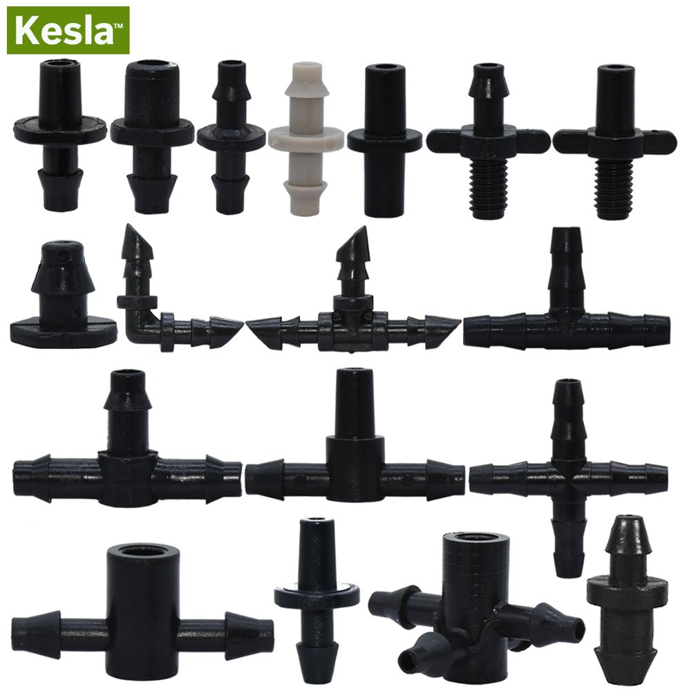 KESLA Garden Water Connector Drip Irrigation for 1/4'' & 1/8'' Tubing Hose Accessories Joint Barbed