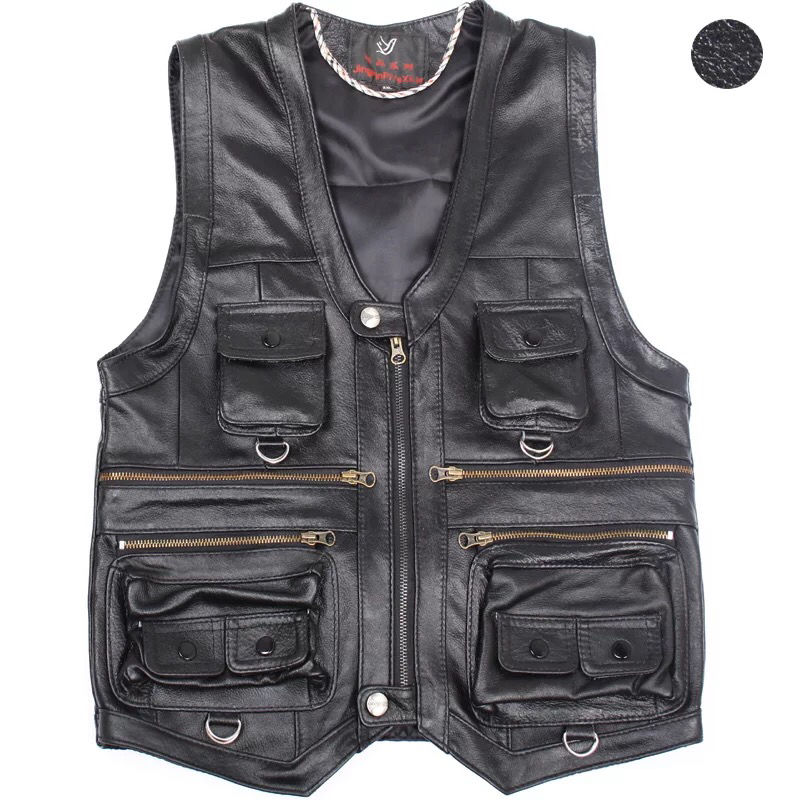 Leather Vest Autumn And Winter Head V-Neck Multi-Pocket Men s Casual Waistcoat Plus Size