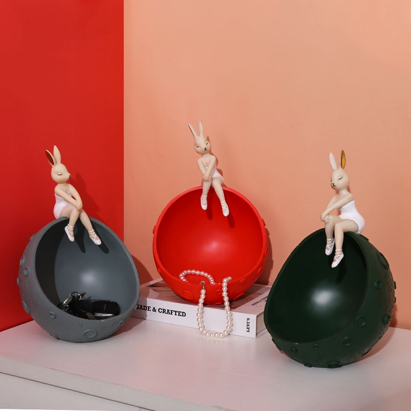 Adornos creativos modernos de resina con escultura de espacio para chica conejito para casa, sala de estar, llave de entrada, dulces pequeños objetos de almacenamiento, adornos para manualidades