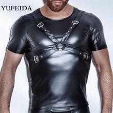 YUFEIDA Fashion Mens Undershirts PU Leather T Shirts Sexy Fitness Black Tops Sexy Gay Wear Hip Hop Men Casual Clothes Clubwear