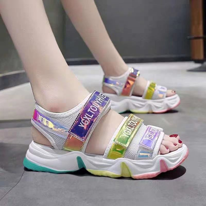 Fashion Girls Sandals Rainbow Sole Childrens Beach Shoes 2021 New Summer Kids For Princess Leather Casual