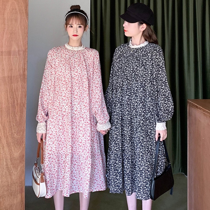 Women's Long-Sleeved Chiffon Floral Dress plus Size Loose Long French Style Retro Dress Early Spring