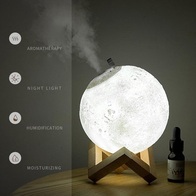 880 مللي الهواء المرطب ناشر رائحة الروائح القمر مصباح ليد زيت طبيعي الناشر بالموجات فوق الصوتية لتنقية الهواء لغرفة النوم المنزل