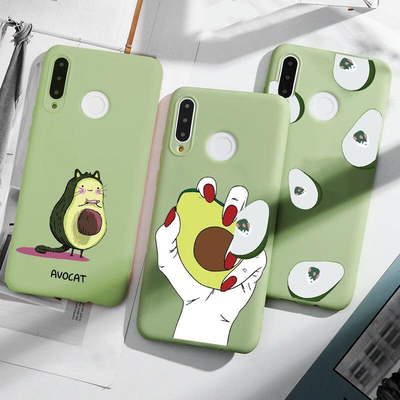 Aguacate caso fresco para Huawei Y7 Y9 primer Mate 10 20 30 P Smart Lite Pro 2018 Funda casos para Huawei P20 P30 P10 Lite Pro 2019