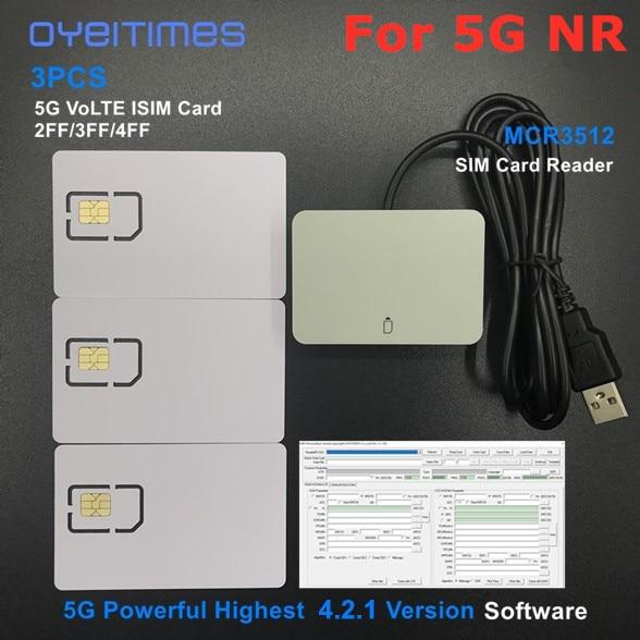 OYEITIMES SIM Card Reader+3PCS 2FF/3FF/4FF Programmable 5G NR 3GPP R16 ISIM Card Blank 5G ISIM Card +4.2.1 SIM Personalize Tools