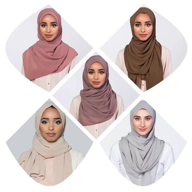 women plain bubble chiffon scarf hijab wrap printe solid color shawls headband hijabs scarves/scarfsfor ladies