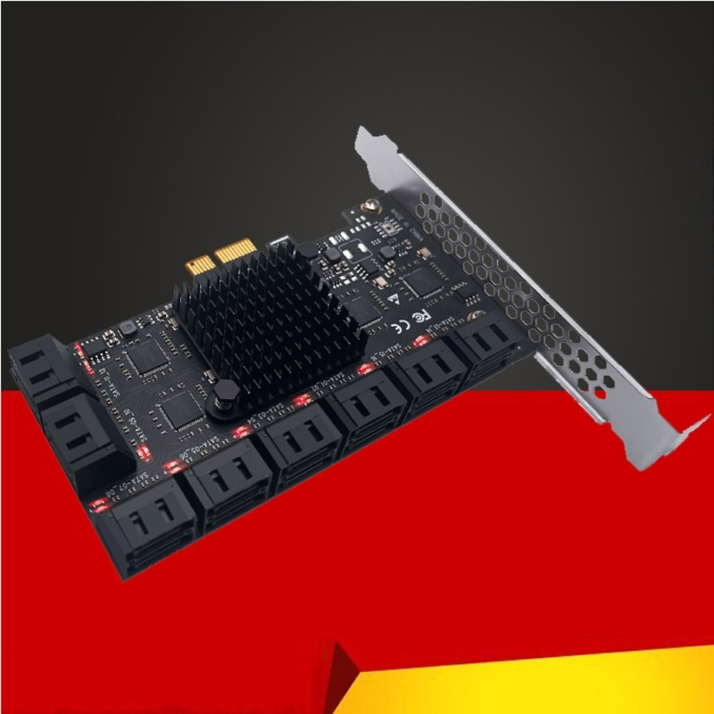 A69B الكمبيوتر التوسع SATA محول PCIe إلى SATA 3.0 محول 6Gbps سرعة نقل 16 ميناء محول SATA