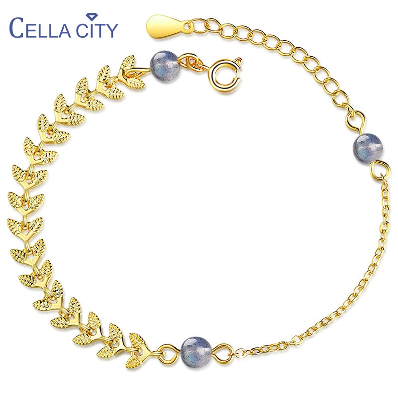 Pulsera Cellacity Blue Moonstone de Plata de Ley 925 para mujer, joyería fina con piedras preciosas, hoja de planta, puntas de trigo, regalos a la moda
