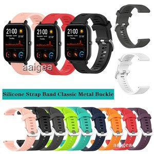 20mm Silicone Watch Band Classic Metal buckle Strap for Huami Amazfit GTS 2e GTS2 mini for Huami Bip Lite S U Replacement strap