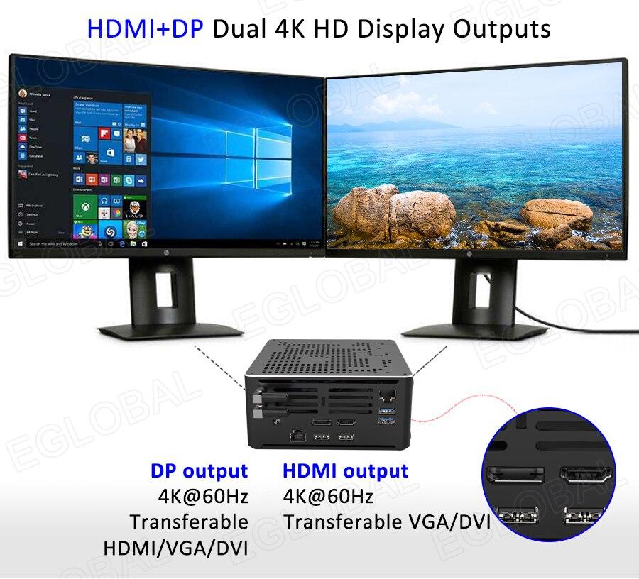 Eglobal dual LAN Juego Mini PC Intel i9 9880H i7 9850H Xeon 2186M 2 * DDR4 64GB 2 * M.2 PCIE + 1*2,5 SATA win10 computadora de escritorio